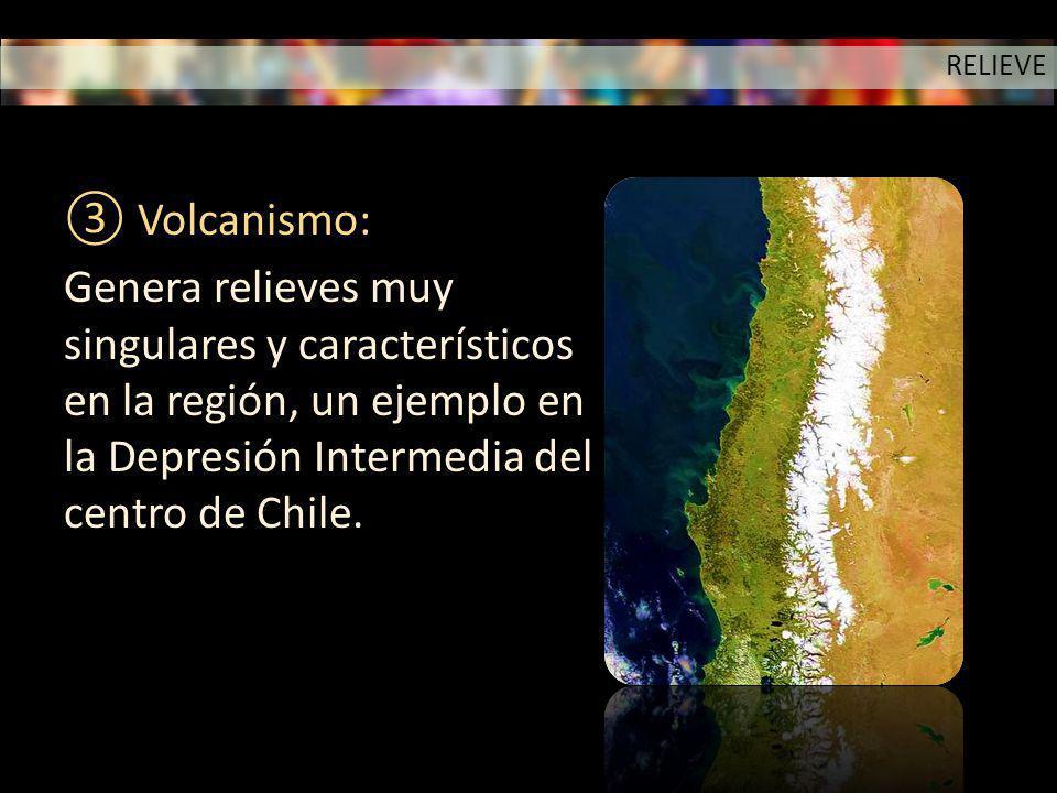 Volcanismo: Genera relieves muy singulares y característicos en la región, un ejemplo en la Depresión Intermedia del centro de Chile. RELIEVE