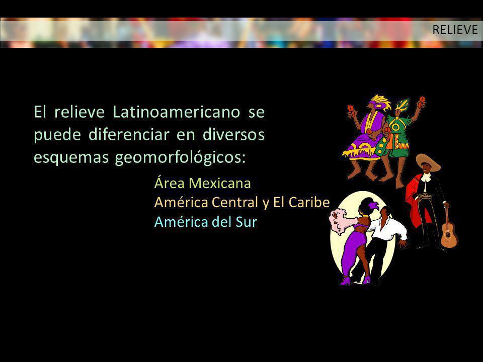 El relieve Latinoamericano se puede diferenciar en diversos esquemas geomorfológicos: Área Mexicana América Central y El Caribe América del Sur RELIEV