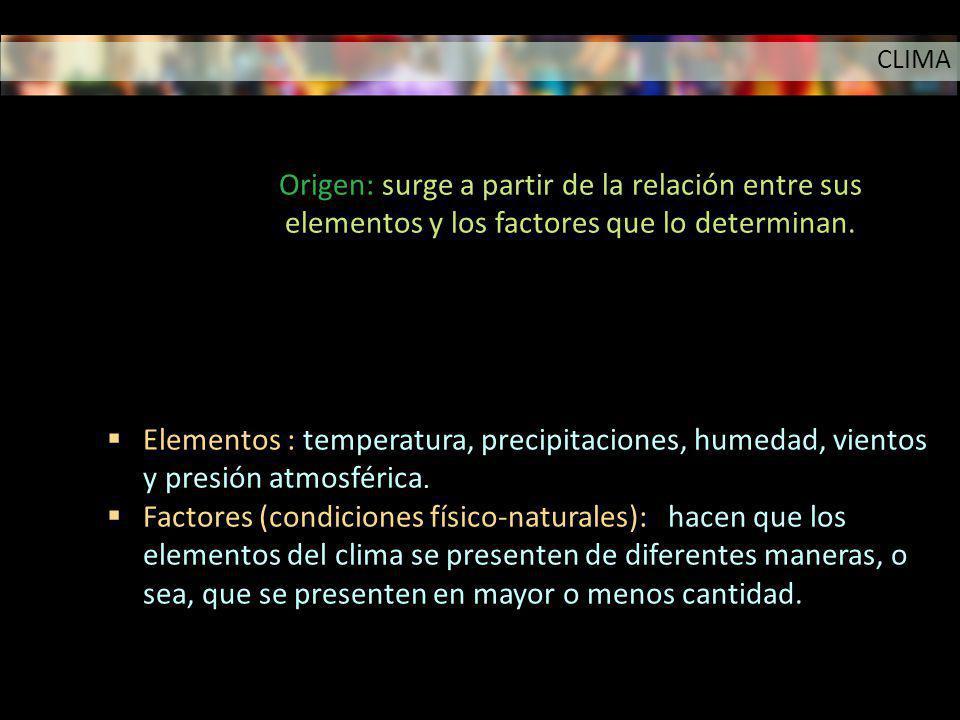 Elementos : temperatura, precipitaciones, humedad, vientos y presión atmosférica. Factores (condiciones físico-naturales): hacen que los elementos del