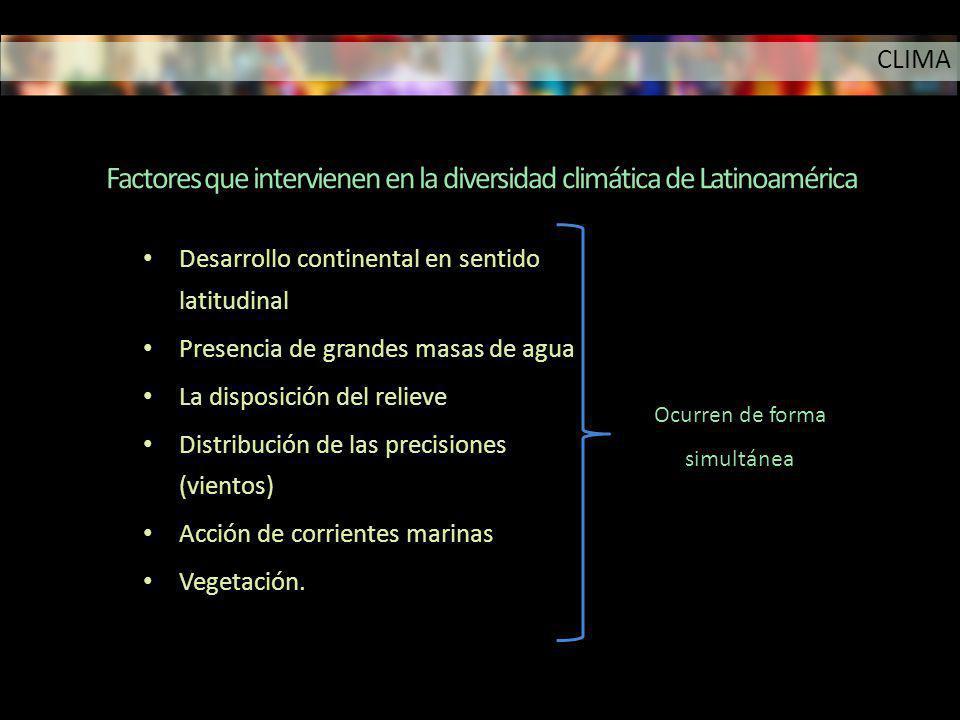 Factores que intervienen en la diversidad climática de Latinoamérica Desarrollo continental en sentido latitudinal Presencia de grandes masas de agua