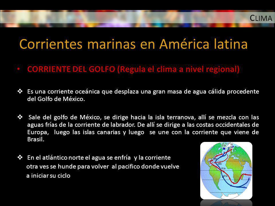 C LIMA Corrientes marinas en América latina CORRIENTE DEL GOLFO (Regula el clima a nivel regional) Es una corriente oceánica que desplaza una gran mas