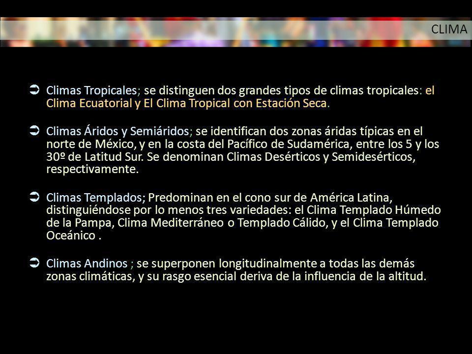 Climas Tropicales; se distinguen dos grandes tipos de climas tropicales: el Clima Ecuatorial y El Clima Tropical con Estación Seca. Climas Áridos y Se