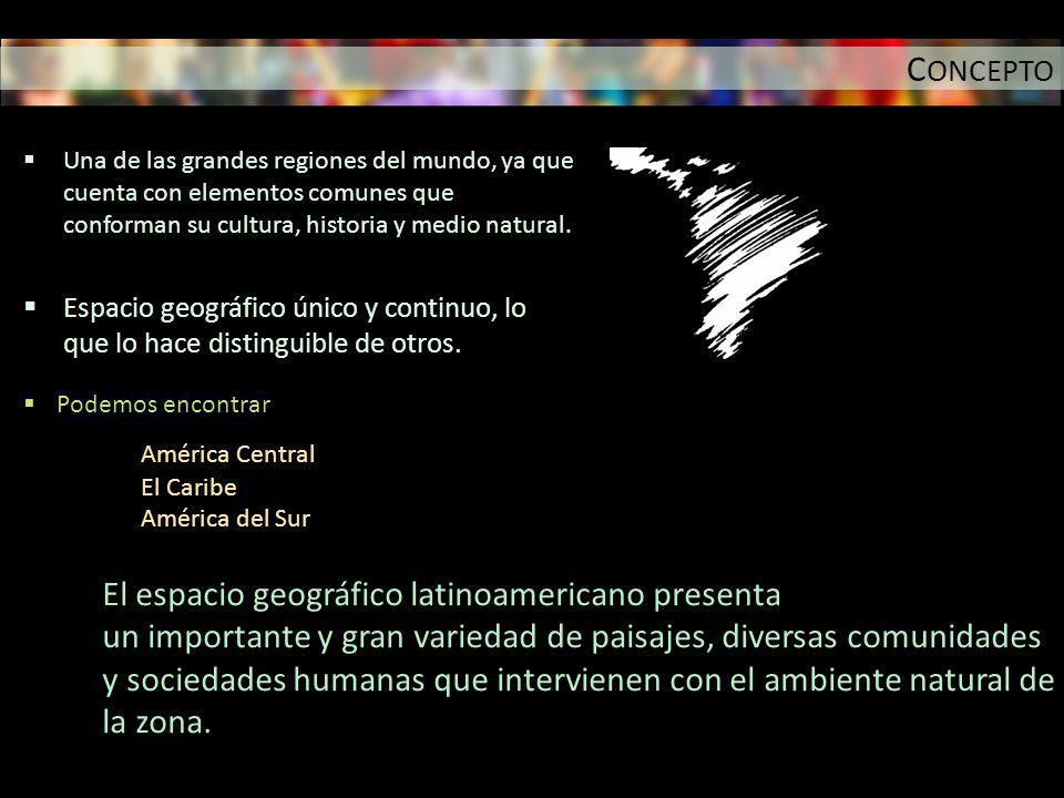 «América Latina, un continente ampliamente diverso cultural y geográficamente.» El espacio geográfico latinoamericano presenta un importante y gran variedad de paisajes, diversas comunidades y sociedades humanas que intervienen con el ambiente natural de la zona.