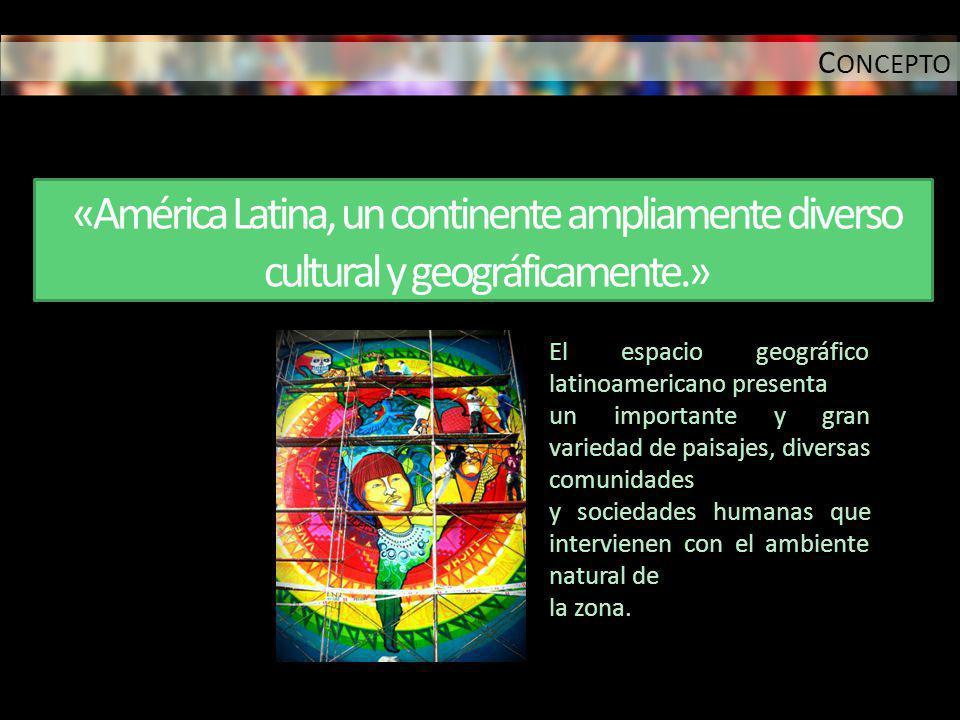«América Latina, un continente ampliamente diverso cultural y geográficamente.» El espacio geográfico latinoamericano presenta un importante y gran va