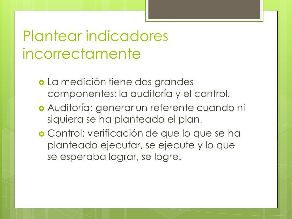 Plantear indicadores incorrectamente La medición tiene dos grandes componentes: la auditoría y el control. Auditoría: generar un referente cuando ni s