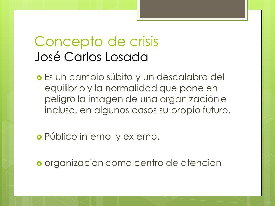 Concepto de crisis José Carlos Losada Es un cambio súbito y un descalabro del equilibrio y la normalidad que pone en peligro la imagen de una organiza