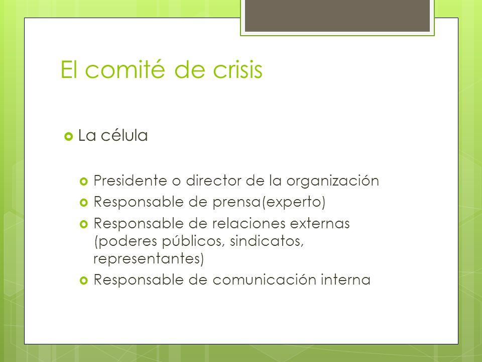 El comité de crisis La célula Presidente o director de la organización Responsable de prensa(experto) Responsable de relaciones externas (poderes públ