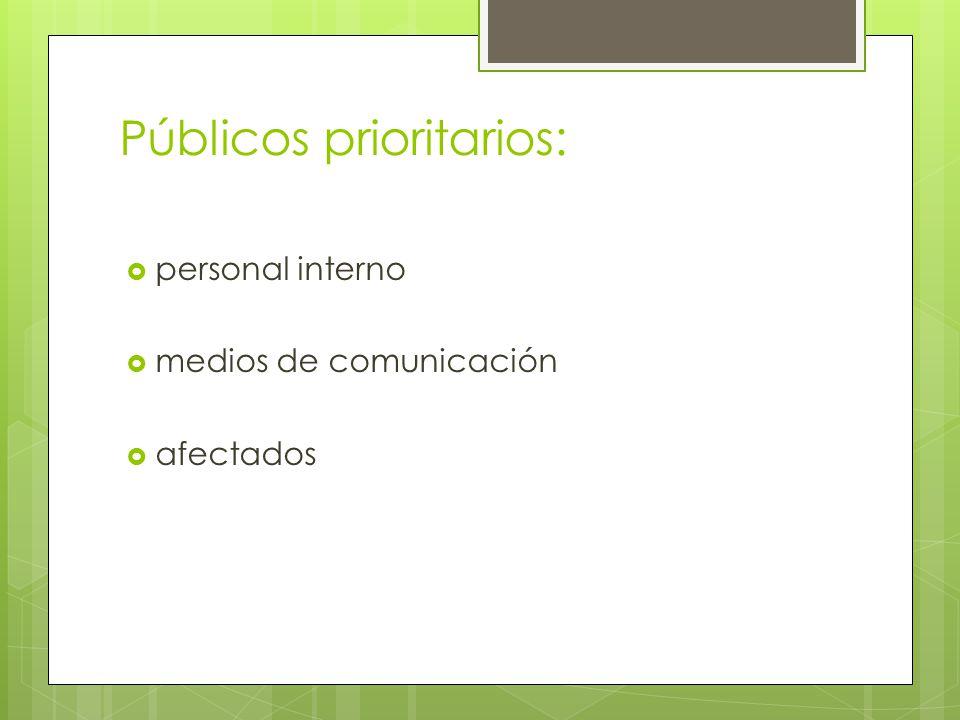 Públicos prioritarios: personal interno medios de comunicación afectados