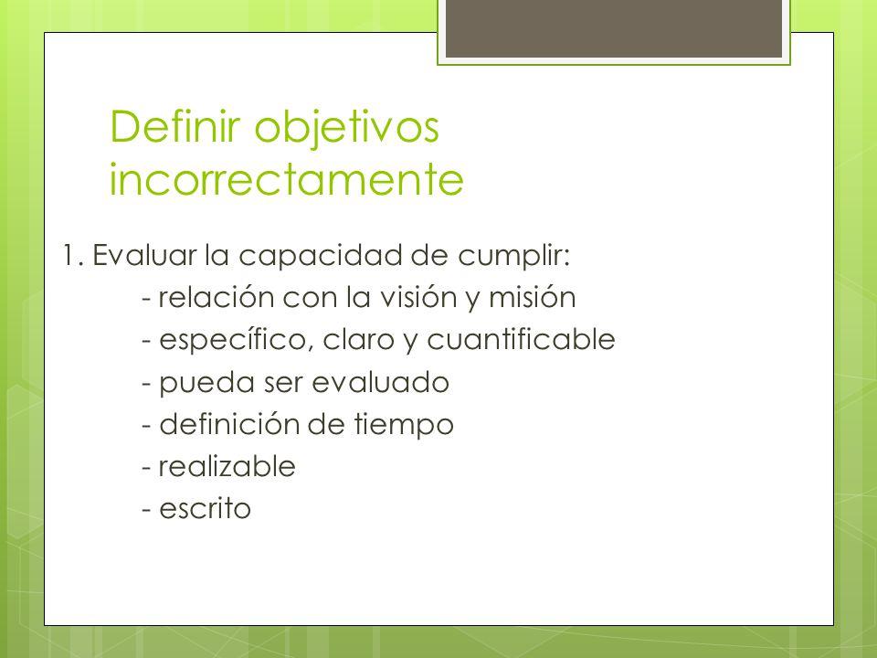 Definir objetivos incorrectamente 1. Evaluar la capacidad de cumplir: - relación con la visión y misión - específico, claro y cuantificable - pueda se
