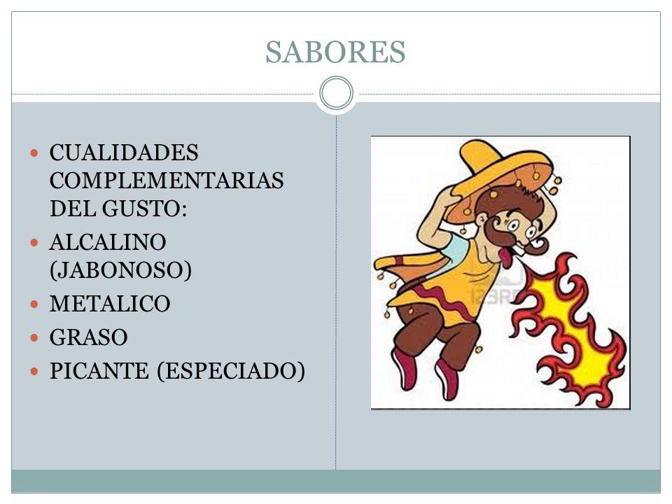 SABORES CUALIDADES COMPLEMENTARIAS DEL GUSTO: ALCALINO (JABONOSO) METALICO GRASO PICANTE (ESPECIADO)