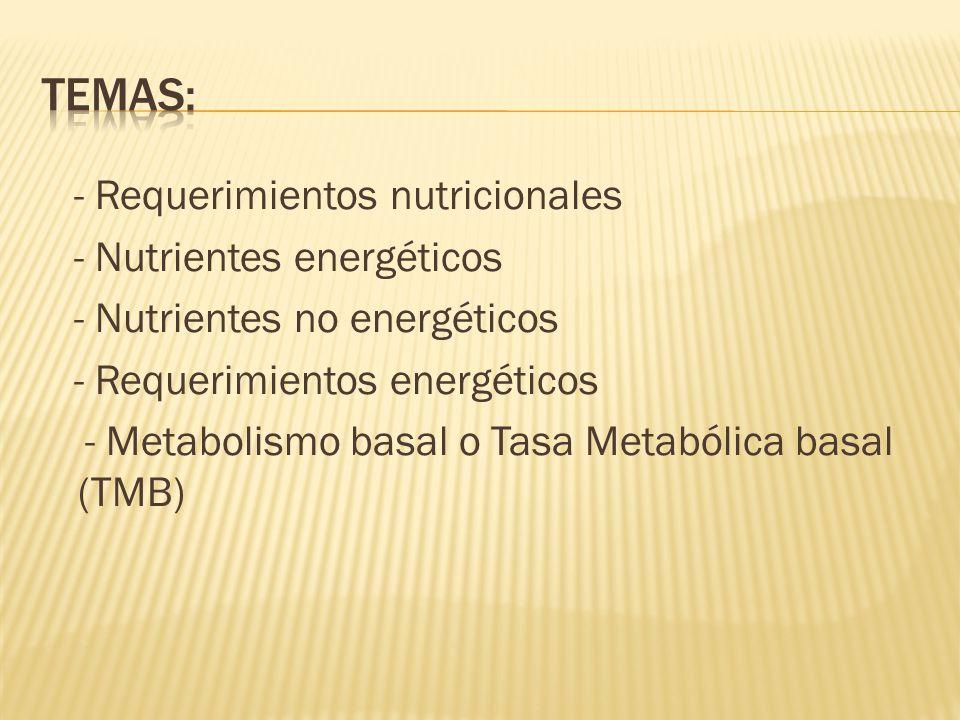 - Requerimientos nutricionales - Nutrientes energéticos - Nutrientes no energéticos - Requerimientos energéticos - Metabolismo basal o Tasa Metabólica