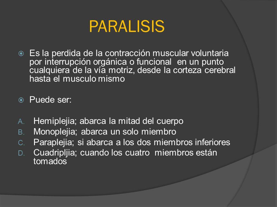 PARALISIS Es la perdida de la contracción muscular voluntaria por interrupción orgánica o funcional en un punto cualquiera de la vía motriz, desde la