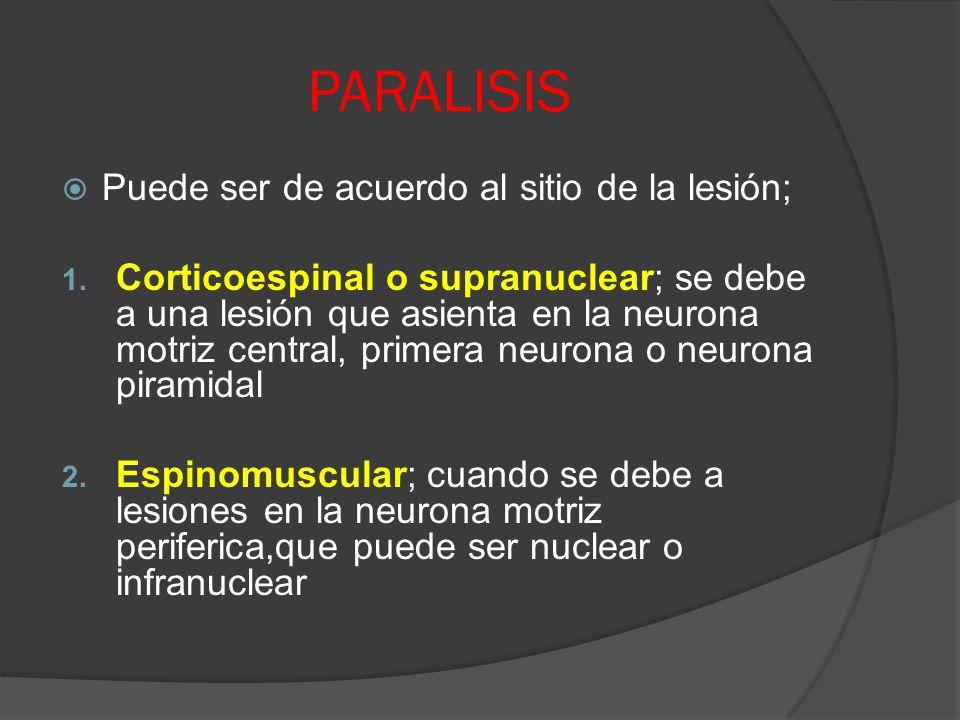 PARALISIS Puede ser de acuerdo al sitio de la lesión; 1. Corticoespinal o supranuclear; se debe a una lesión que asienta en la neurona motriz central,