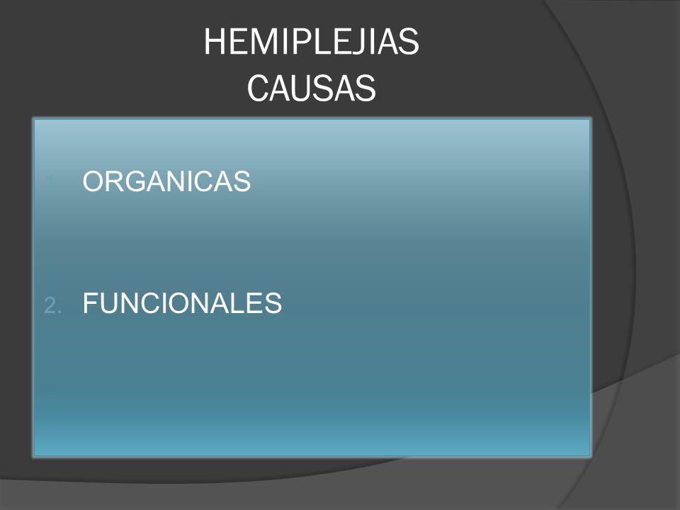 HEMIPLEJIAS CAUSAS 1. ORGANICAS 2. FUNCIONALES