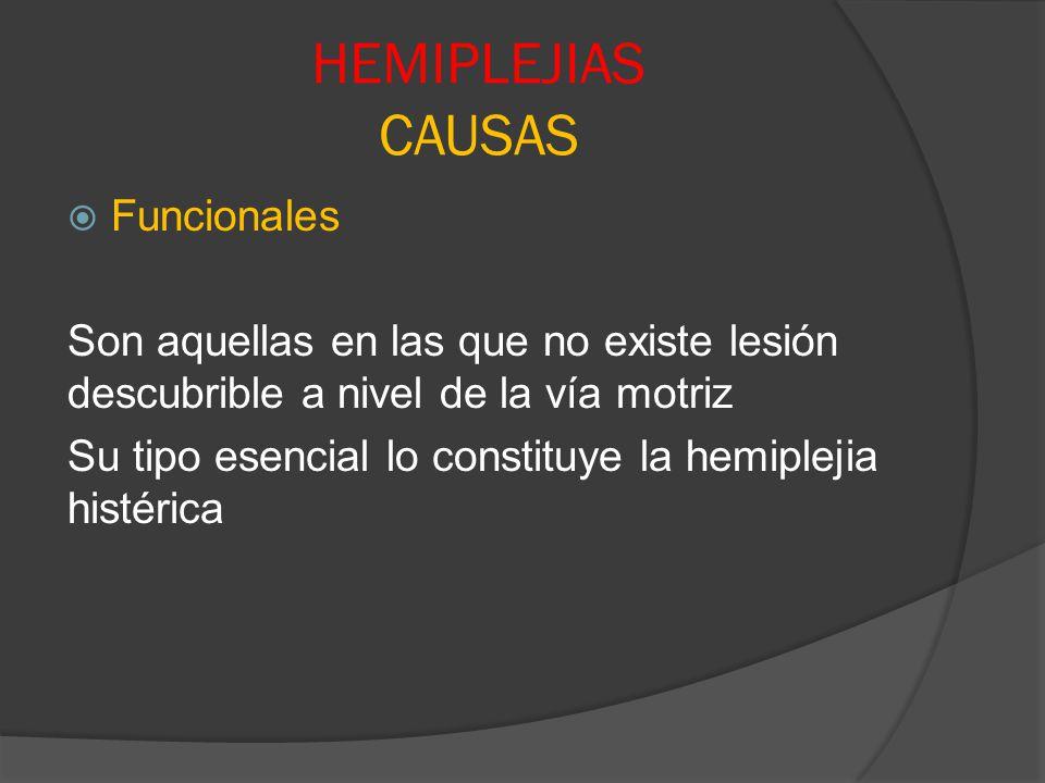 HEMIPLEJIAS CAUSAS Funcionales Son aquellas en las que no existe lesión descubrible a nivel de la vía motriz Su tipo esencial lo constituye la hemiple