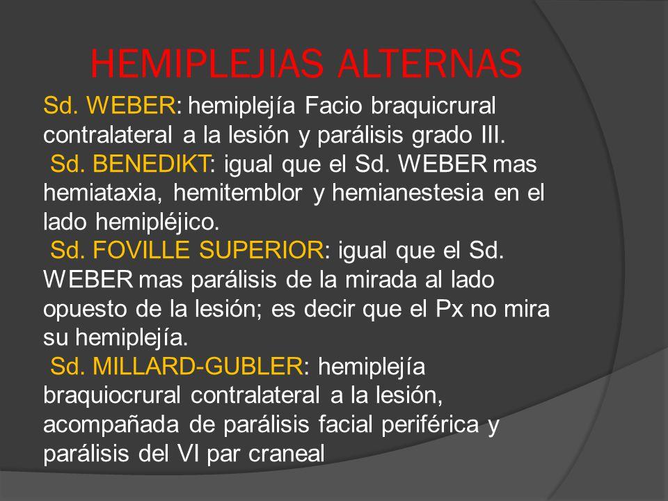 HEMIPLEJIAS ALTERNAS Sd. WEBER: hemiplejía Facio braquicrural contralateral a la lesión y parálisis grado III. Sd. BENEDIKT: igual que el Sd. WEBER ma
