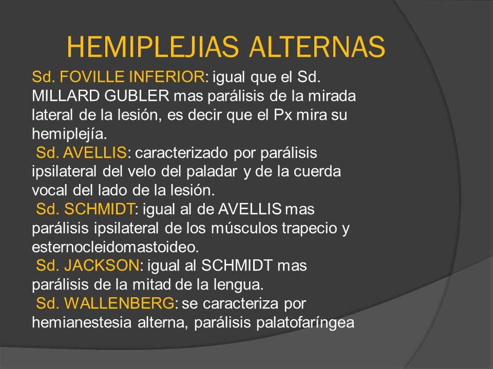 HEMIPLEJIAS ALTERNAS Sd. FOVILLE INFERIOR: igual que el Sd. MILLARD GUBLER mas parálisis de la mirada lateral de la lesión, es decir que el Px mira su