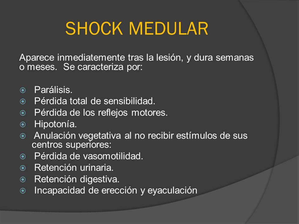 SHOCK MEDULAR Aparece inmediatemente tras la lesión, y dura semanas o meses. Se caracteriza por: Parálisis. Pérdida total de sensibilidad. Pérdida de