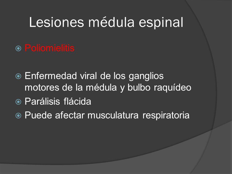 Lesiones médula espinal Poliomielitis Enfermedad viral de los ganglios motores de la médula y bulbo raquídeo Parálisis flácida Puede afectar musculatu