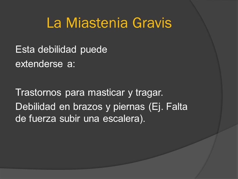 La Miastenia Gravis Esta debilidad puede extenderse a: Trastornos para masticar y tragar. Debilidad en brazos y piernas (Ej. Falta de fuerza subir una