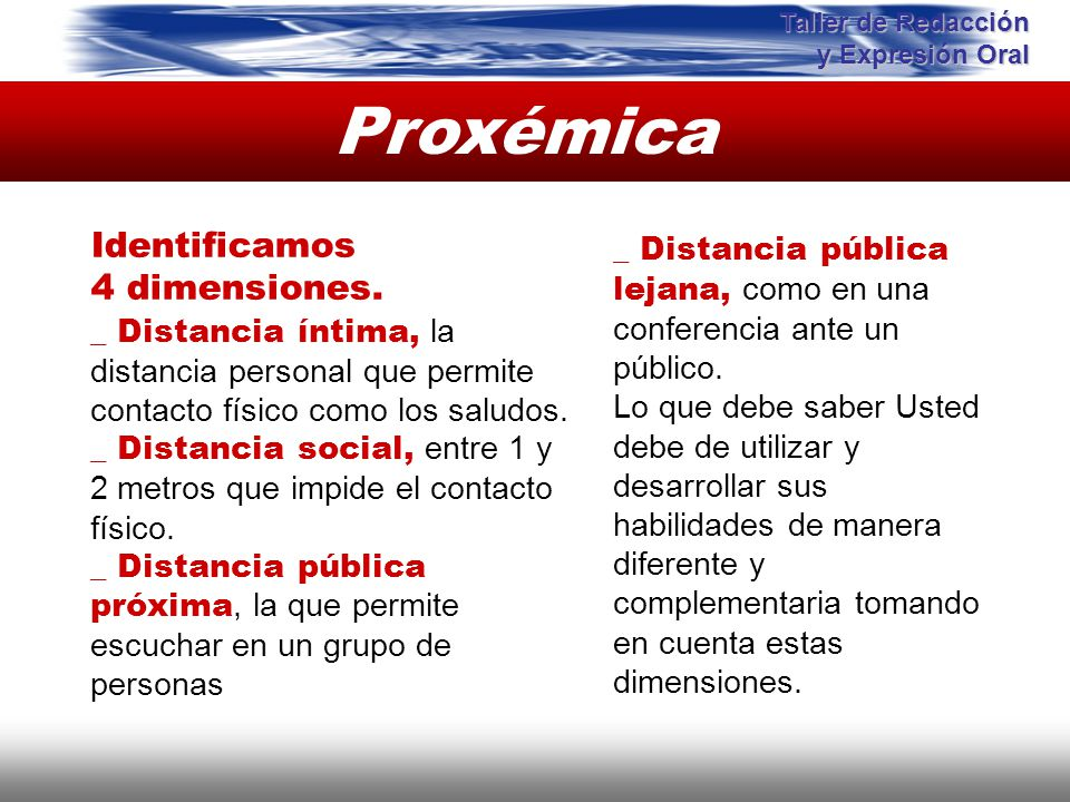 Proxémica Instituto de Formación Bancaria Copyright © 2007 Carlos de la Rosa Identificamos 4 dimensiones. _ Distancia íntima, la distancia personal qu
