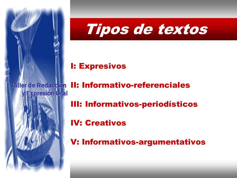 Tipos de textos Taller de Redacción y Expresión Oral Instituto de Formación Bancaria Copyright © 2008 Carlos de la Rosa I: Expresivos II: Informativo-