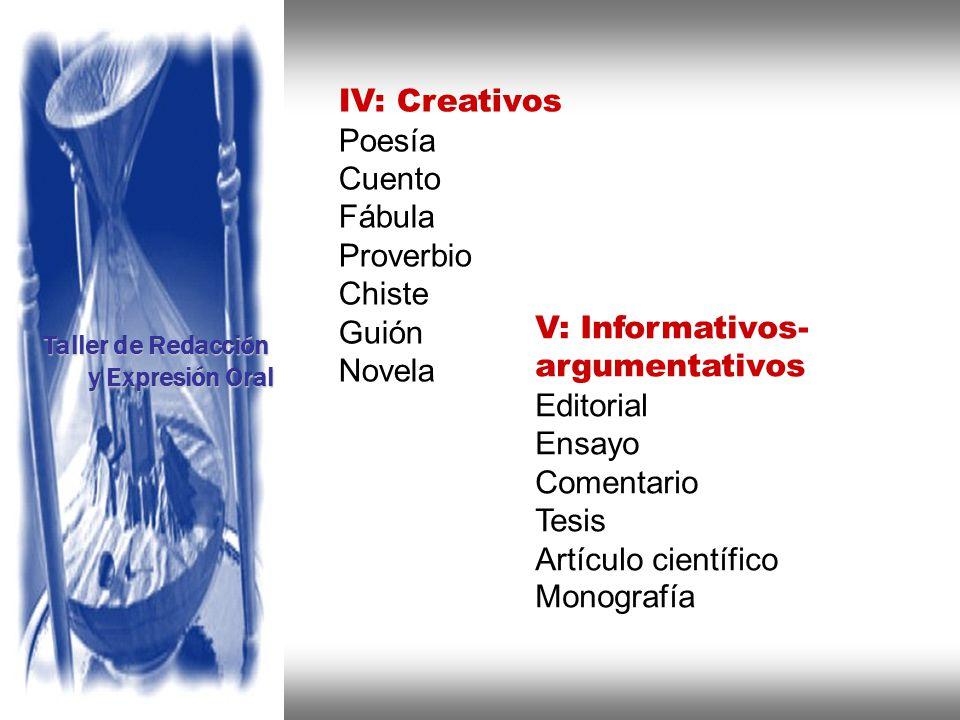 Instituto de Formación Bancaria Copyright © 2008 Carlos de la Rosa IV: Creativos Poesía Cuento Fábula Proverbio Chiste Guión Novela V: Informativos- a