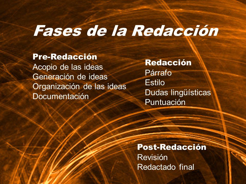 Pre-Redacción Acopio de las ideas Generación de ideas Organización de las ideas Documentación Post-Redacción Revisión Redactado final Redacción Párraf