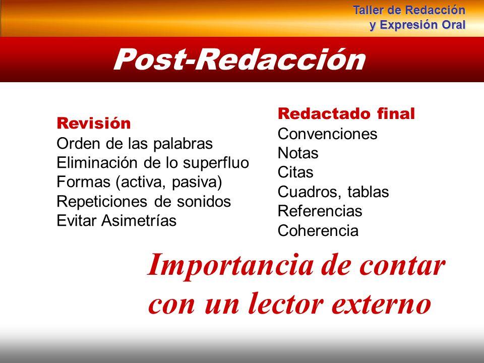Post-Redacción Instituto de Formación Bancaria Copyright © 2007 Carlos de la Rosa Importancia de contar con un lector externo Redactado final Convenci