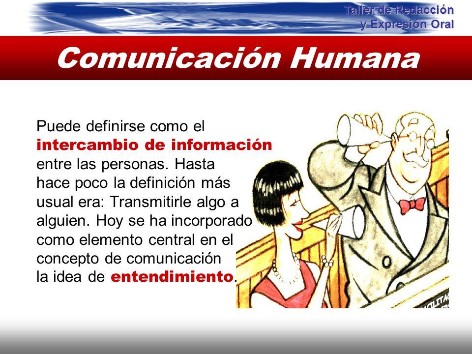 Comunicación Humana Puede definirse como el intercambio de información entre las personas. Hasta hace poco la definición más usual era: Transmitirle a