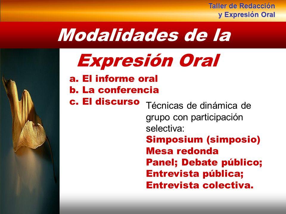 Instituto de Formación Bancaria Copyright © 2008 Carlos de la Rosa a. El informe oral b. La conferencia c. El discurso Modalidades de la Expresión Ora