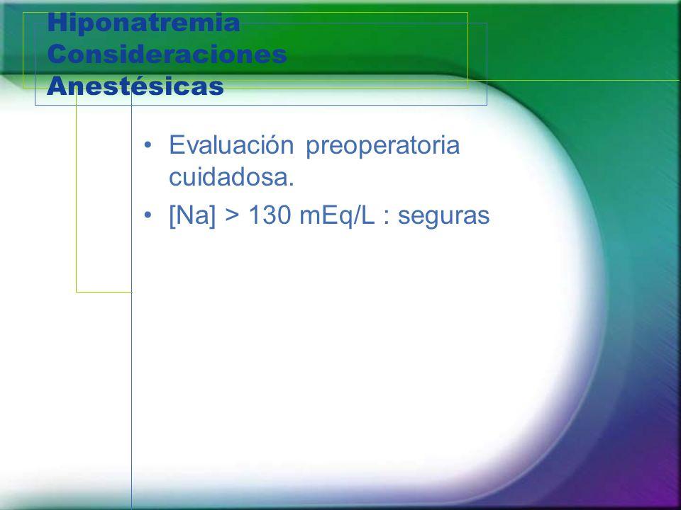 Hiponatremia Consideraciones Anestésicas Evaluación preoperatoria cuidadosa. [Na] > 130 mEq/L : seguras