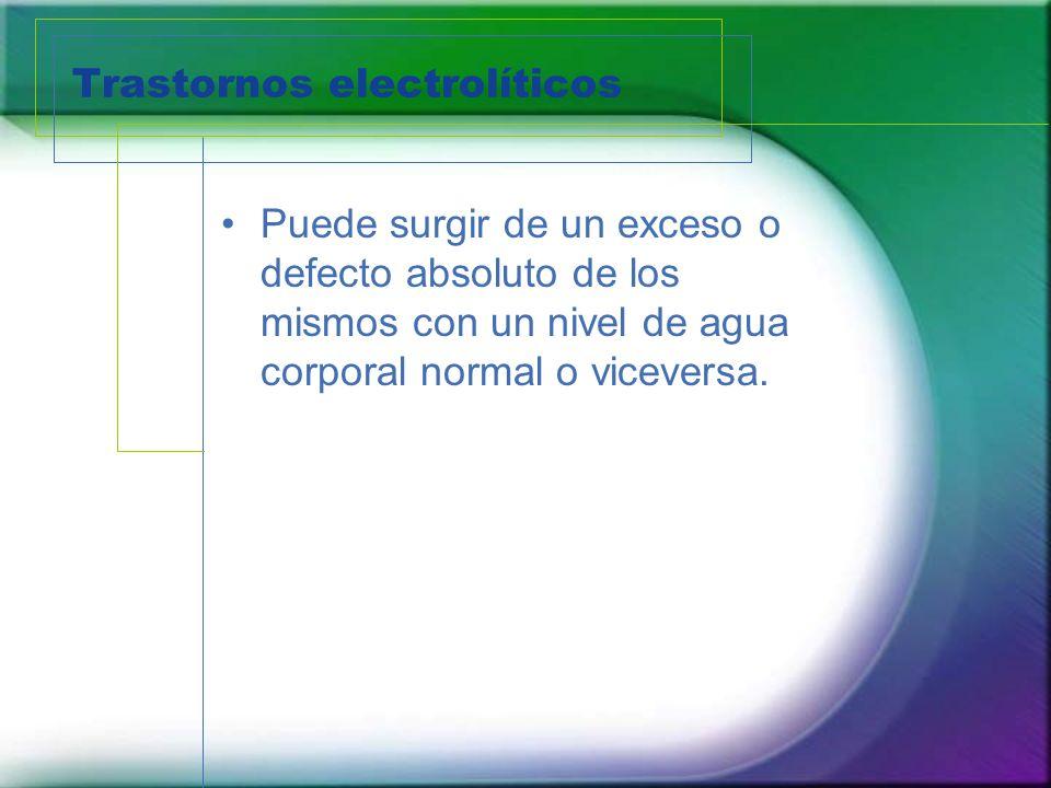Trastornos electrolíticos Puede surgir de un exceso o defecto absoluto de los mismos con un nivel de agua corporal normal o viceversa.