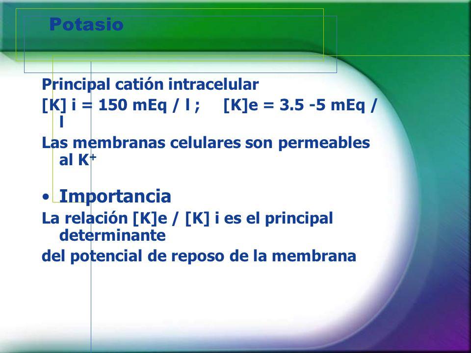Potasio Principal catión intracelular [K] i = 150 mEq / l ; [K]e = 3.5 -5 mEq / l Las membranas celulares son permeables al K + Importancia La relació