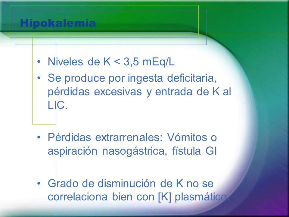 Hipokalemia Niveles de K < 3,5 mEq/L Se produce por ingesta deficitaria, pérdidas excesivas y entrada de K al LIC. Pérdidas extrarrenales: Vómitos o a