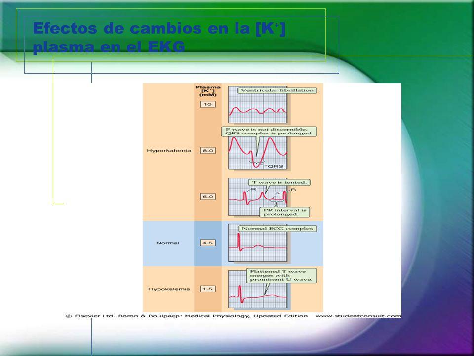 Efectos de cambios en la [K ] plasma en el EKG