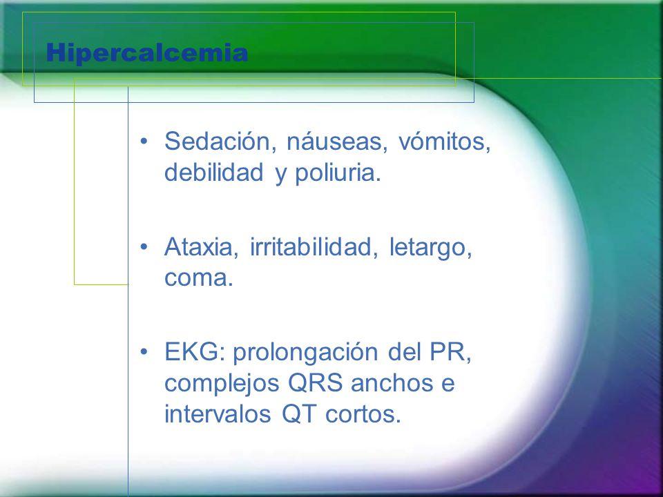 Hipercalcemia Sedación, náuseas, vómitos, debilidad y poliuria. Ataxia, irritabilidad, letargo, coma. EKG: prolongación del PR, complejos QRS anchos e