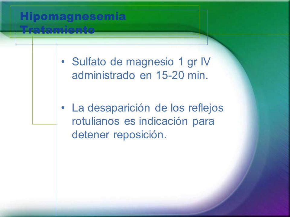 Hipomagnesemia Tratamiento Sulfato de magnesio 1 gr IV administrado en 15-20 min. La desaparición de los reflejos rotulianos es indicación para detene