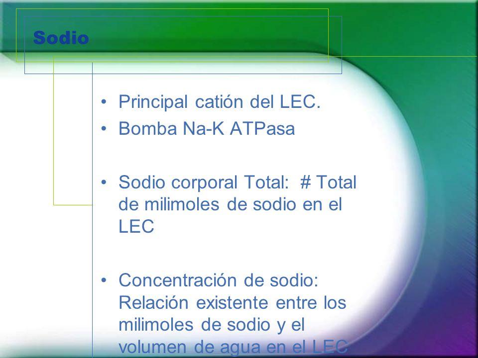 Sodio Principal catión del LEC. Bomba Na-K ATPasa Sodio corporal Total: # Total de milimoles de sodio en el LEC Concentración de sodio: Relación exist