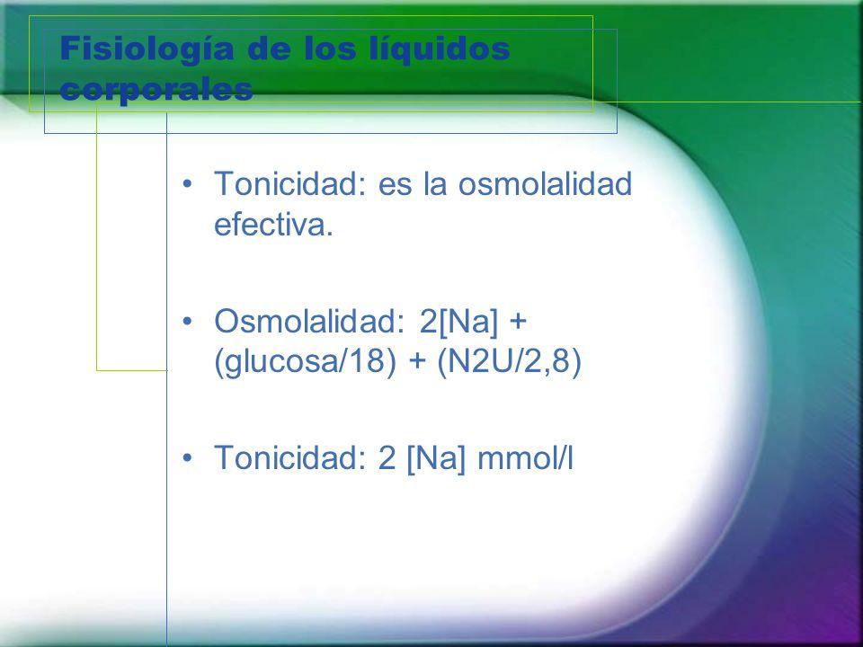 Fisiología de los líquidos corporales Tonicidad: es la osmolalidad efectiva. Osmolalidad: 2[Na] + (glucosa/18) + (N2U/2,8) Tonicidad: 2 [Na] mmol/l