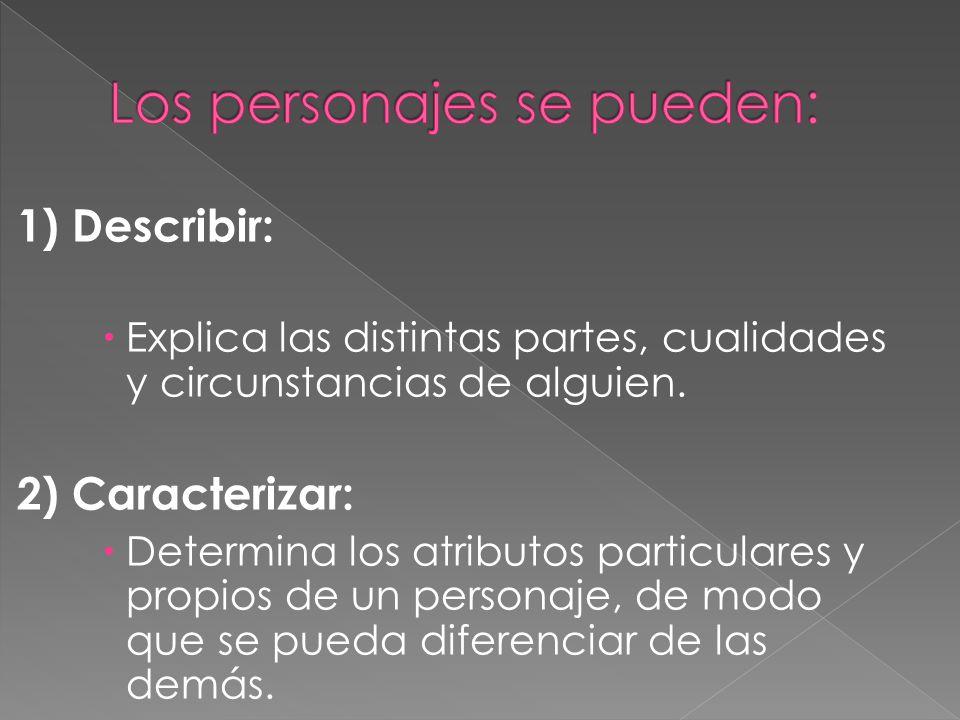 1) Describir: Explica las distintas partes, cualidades y circunstancias de alguien.