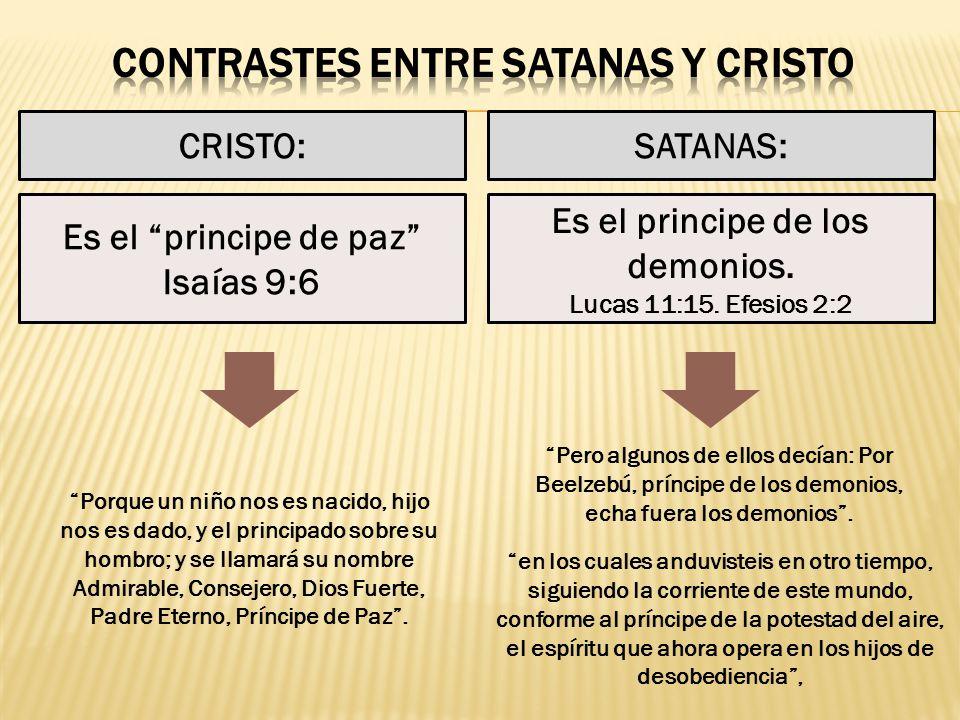 CRISTO:SATANAS: Es el principe de los demonios. Lucas 11:15. Efesios 2:2 Es el principe de paz Isaías 9:6 Pero algunos de ellos decían: Por Beelzebú,