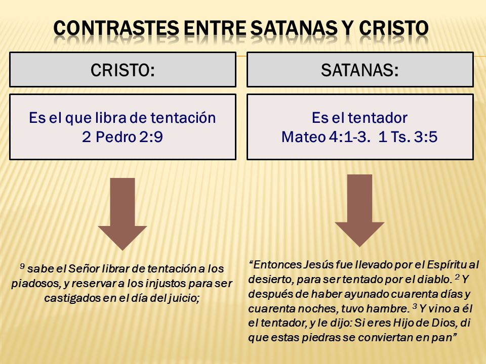 CRISTO:SATANAS: Es el que libra de tentación 2 Pedro 2:9 Es el tentador Mateo 4:1-3. 1 Ts. 3:5 9 sabe el Señor librar de tentación a los piadosos, y r