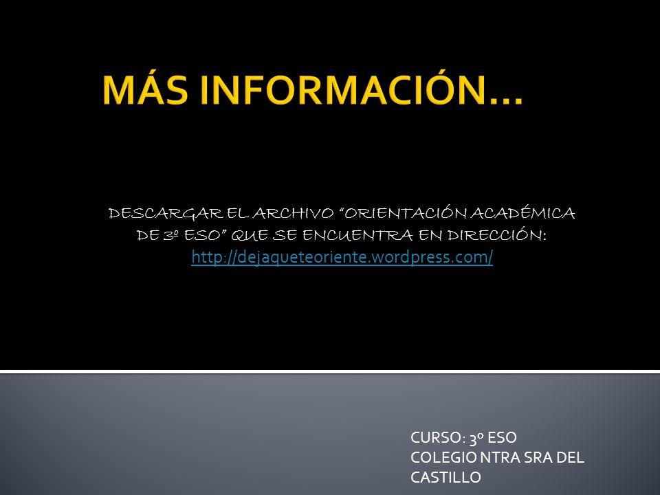 DESCARGAR EL ARCHIVO ORIENTACIÓN ACADÉMICA DE 3º ESO QUE SE ENCUENTRA EN DIRECCIÓN: http://dejaqueteoriente.wordpress.com/ http://dejaqueteoriente.wordpress.com/ CURSO: 3º ESO COLEGIO NTRA SRA DEL CASTILLO