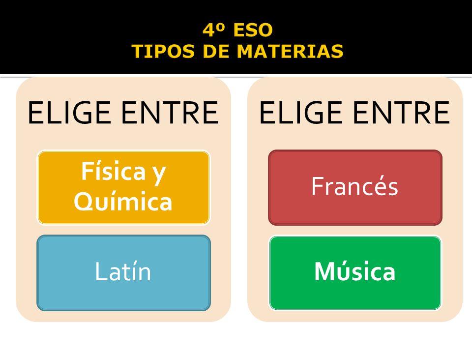 ELIGE ENTRE Física y Química Latín ELIGE ENTRE FrancésMúsica