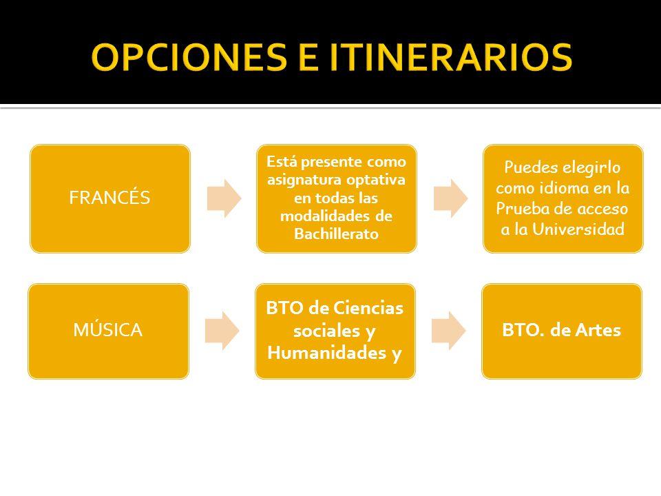 FRANCÉS Está presente como asignatura optativa en todas las modalidades de Bachillerato Puedes elegirlo como idioma en la Prueba de acceso a la Universidad MÚSICA BTO de Ciencias sociales y Humanidades y BTO.