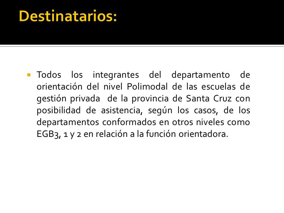 Todos los integrantes del departamento de orientación del nivel Polimodal de las escuelas de gestión privada de la provincia de Santa Cruz con posibilidad de asistencia, según los casos, de los departamentos conformados en otros niveles como EGB3, 1 y 2 en relación a la función orientadora.