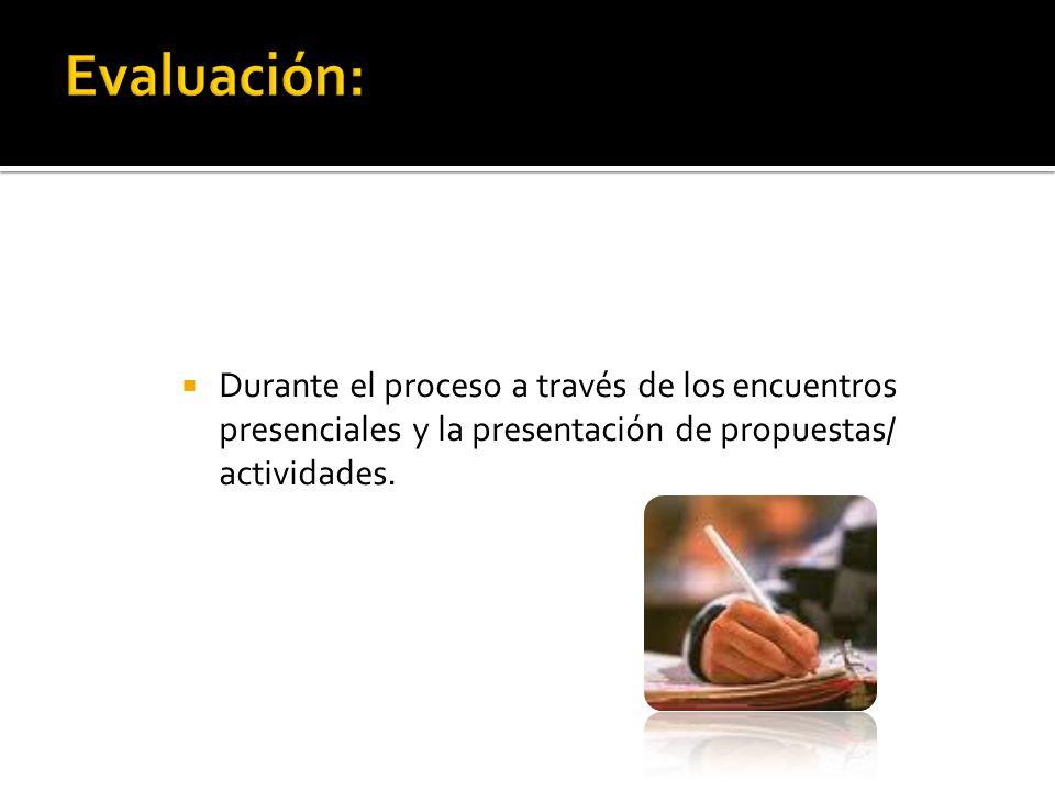Durante el proceso a través de los encuentros presenciales y la presentación de propuestas/ actividades.