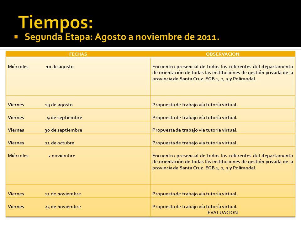 Segunda Etapa: Agosto a noviembre de 2011.