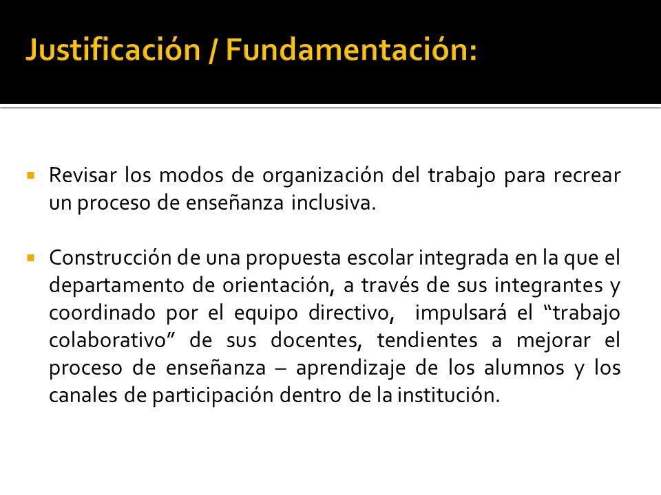 Revisar los modos de organización del trabajo para recrear un proceso de enseñanza inclusiva.